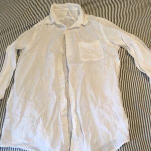Uniqlo men's white linen shirt